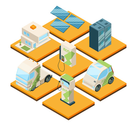 Station of electric machines. Isometric 3d landscape with eco cars. Electricity station for car, eco solar battery platform, vector illustration