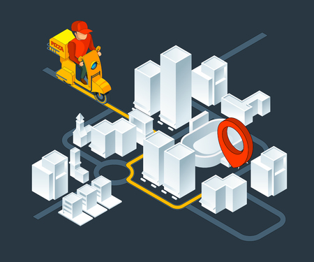 Urban 3d map navigation. Isometric map with delivery pizza navigation route. Map city route gps navigation for transportation. Vector illustration