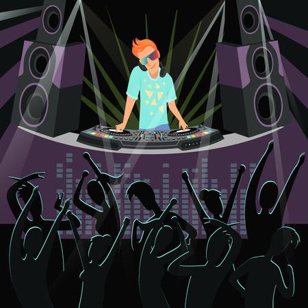Sfondo festa DJ. Illustrazioni di sfondo della festa in discoteca al night club. Evento notturno, dj show club party vector Vettoriali