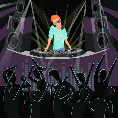 DJ party background. Background illustrations of disco party at night club. Night event, dj show club party vector