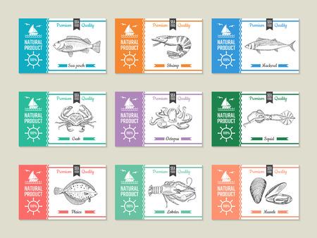 Étiquettes de fruits de mer. Modèle de conception avec des illustrations dessinées à la main de poissons et autres fruits de mer crevettes et maquereaux, perches et calmars, poulpes et crabes vecteur