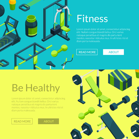 Vector isometric gym banners illustration Vektorgrafik