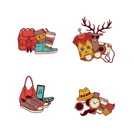 Vector hipster doodle icons illustration