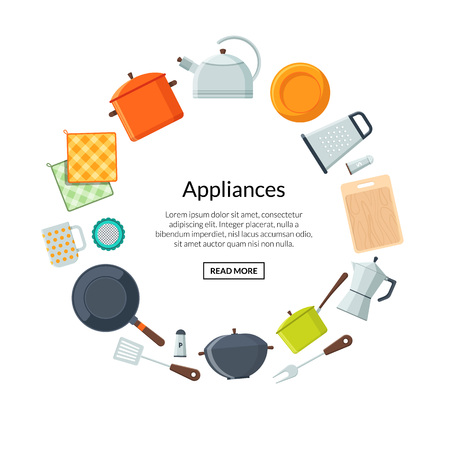 Vector kitchen utensils flat icons in circle form with place for text in center illustration