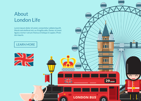 Vector cartoon London sights and objects background with place for text illustration 向量圖像