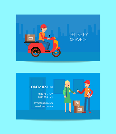 Vector delivery flat elements business card template for delivery service company illustration 向量圖像