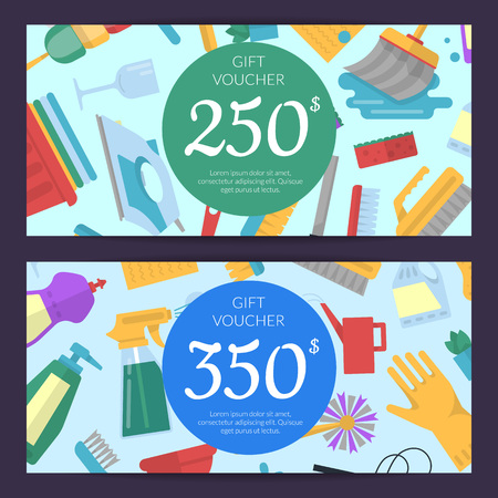 Vector cleaning flat icons discount or gift card voucher templates illustration Иллюстрация