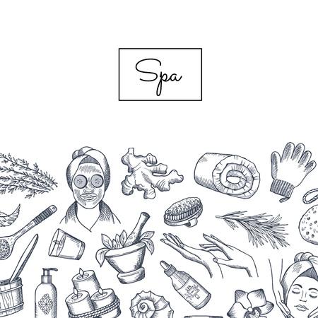 Banner de vector y cartel dibujado a mano fondo de elementos de spa con lugar para la ilustración de texto