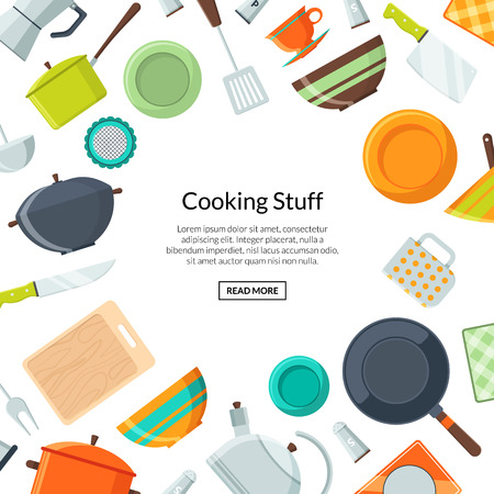 Vector kitchen utensils flat icons background