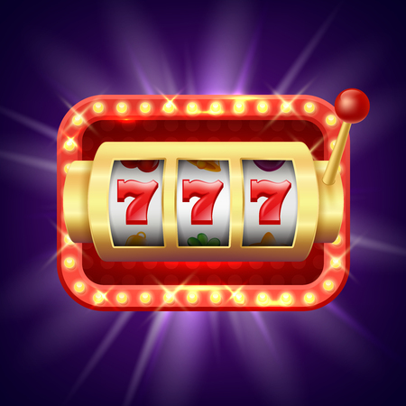 Jackpot at slot machine. Vector realistic background. Illustration of chance jackpot, game fortune, lucky and risk
