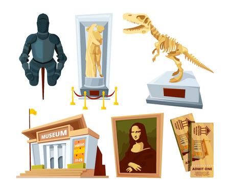 Ustaw animowane obrazy muzeum z kapsułą wystawową i narzędziami z różnych okresów historycznych