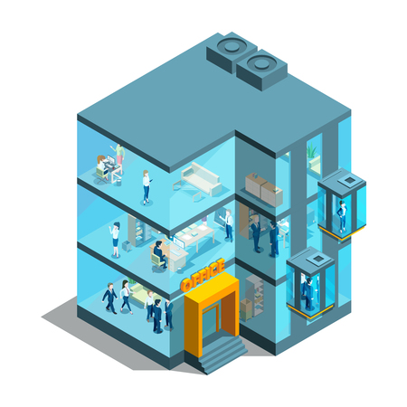 Business building with glass offices and elevators. Isometric architectural vector 3d illustration