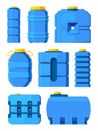 Water barrels. Different water tanks isolated. Tank with liquid water, container barrel illustration vector Illustration