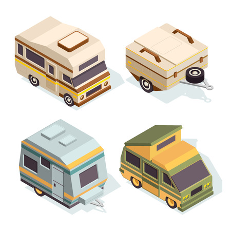SUV and camping cars. Isometric pictures set of travel cars. Travel car isometric, camper for tourism, camp transport, vector illustration