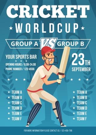 Sport poster of cricket. Placard invitation at championship of cricket