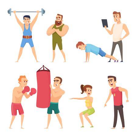 Personal trainer in palestra. Set di caratteri di vettore. Allenamento in palestra, fitness dell'allenatore e illustrazione dell'istruttore Vettoriali