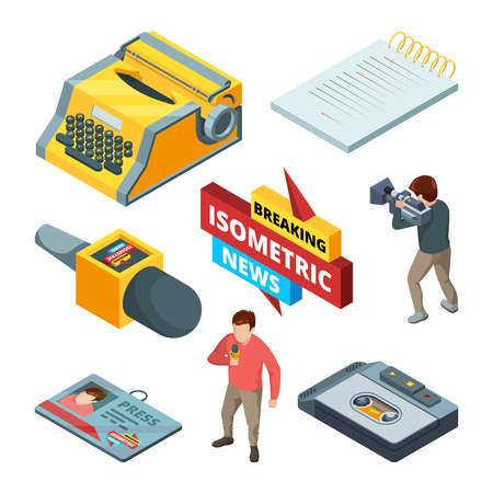 Video news and journalistic. Isometric pictures set of blogging and news symbols. Video journalist, media camera, multimedia live illustration