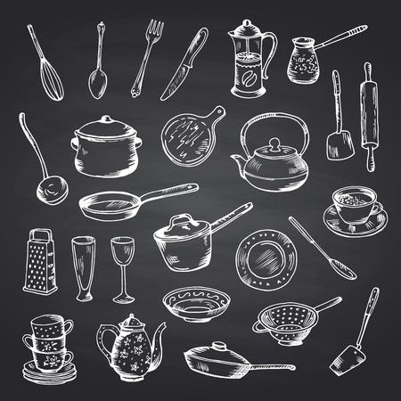 Vector set of hand drawn kitchen utensils on black chalkboard illustration. Chalk board sketch, cooking utensil