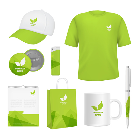 Business corporate identity. Various souvenirs with advertizing templates. Vector identity company clothing branding, promotional t-shirt and pack illustration