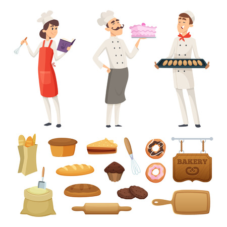 Bakers male and female at work. Characters in different poses. Cook baker profession, pastry and baguette bread, vector illustration Vector Illustration