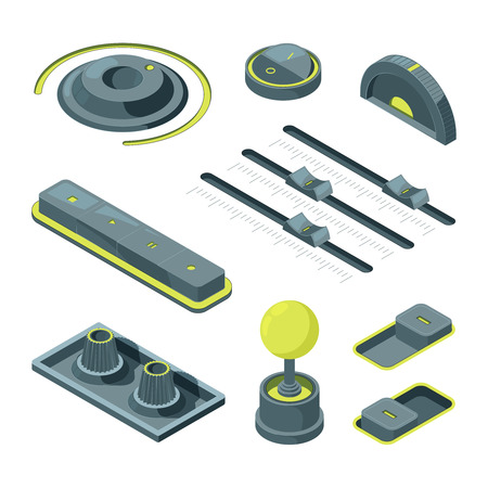 Isometric buttons. Realistic 3D pictures of various UI buttons. Button isometric control, switch equipment. Vector illustration