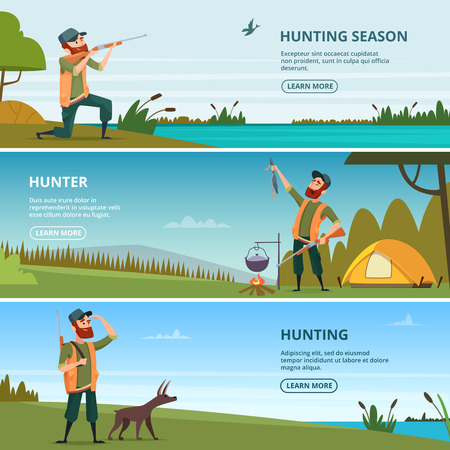 Hunters on hunt banners. Cartoon illustrations of hunting