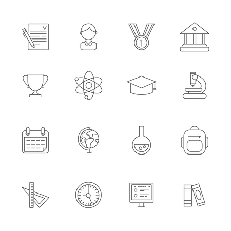 Science symbols. Vector monoline pictures of school. Study knowledge, university learning illustration