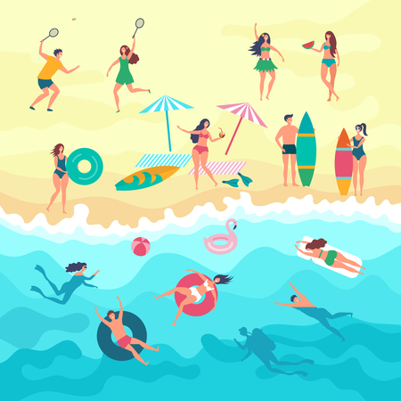 Vector background with various peoples male, female and kids playing on the beach. Summer outdoor activities. Sand beach and people on vacation sea illustration