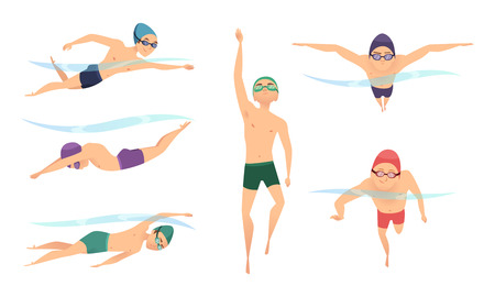 Vector swimmers. Various characters swimmers in action poses. Swimmer character, sport man action in pool illustration Ilustración de vector