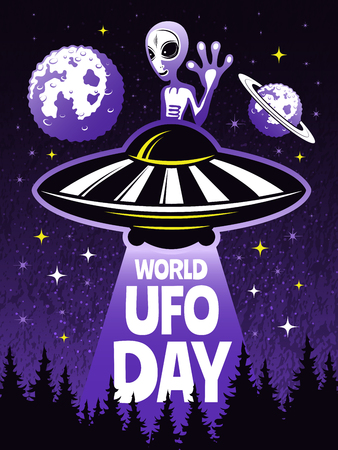Retro poster concept for world day of ufo. Pictures of funny alien. Ufo of day, spaceship and alien. Vector illustration