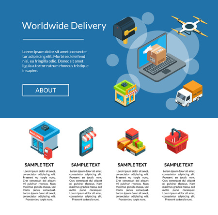 Vector isometric logistics and delivery icons landing page template illustration. Delivery isometric logistic, storage and distribution