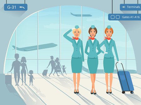 Terminal building. Vector background picture with stewardess in airport. Airplane flight and woman attendant airline illustration Çizim