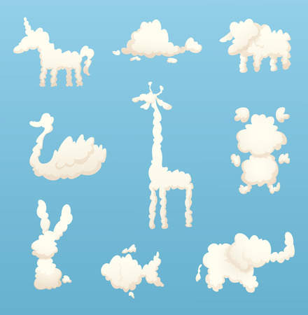 Animals from clouds. Various shapes of cartoon clouds. Vector cloud animal, nature fluffy form, rabbit and fish, horse and sheep illustration
