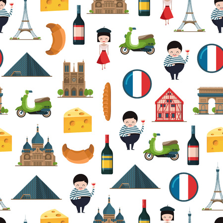 Vector cartoon France sights and objects background or pattern illustration. Tourism travel paris patttern, architecture tower eiffel and notre dame
