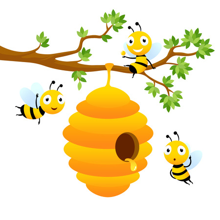 Bee characters. Vector mascot design isolated. Illustration of hive bee hanging on branch tree, honey sweet