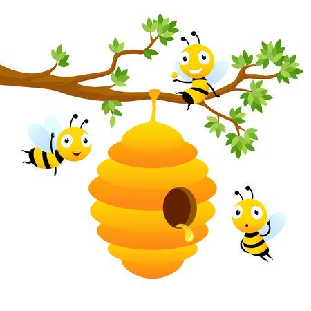Personajes de abeja. Diseño de mascota de vector aislado. Ilustración de colmena de abejas colgando de la rama de un árbol, miel dulce