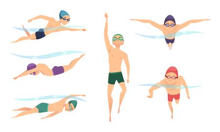 Nageurs de vecteur. Divers nageurs de personnages dans des poses d'action