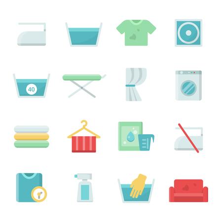 Laundry symbols. Vector icons set for laundry and washing. Illustration of clothing wash and dry, temperature washing