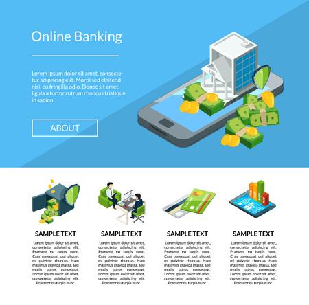 Flux d'argent isométrique de vecteur dans l'illustration de modèle de page de destination d'icônes de banque. Banque finance l'argent, le paiement financier et l'investissement