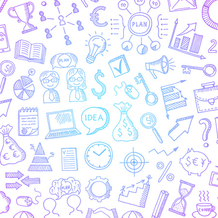 Vector business colored doodle icons background pattern with place for text illustration