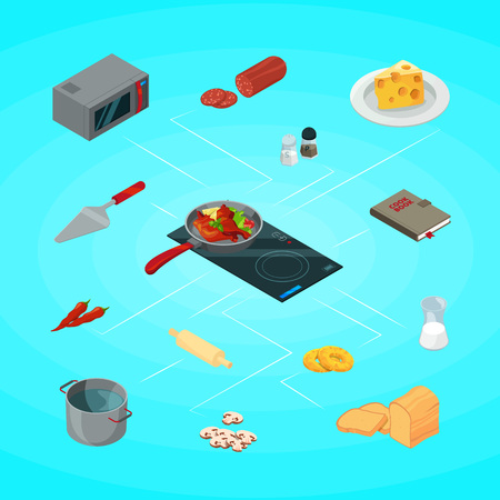 Vector cooking food of set isometric objects infographic concept illustration Illustration