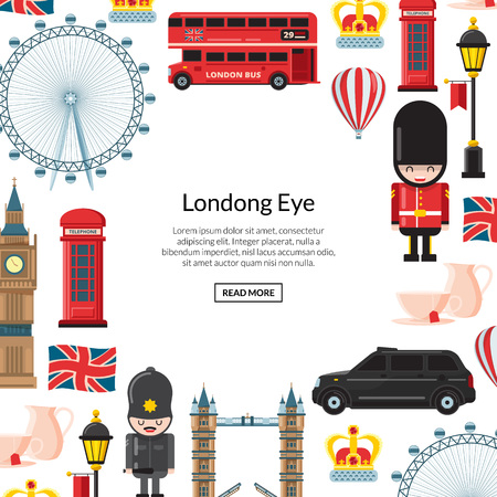Vector cartoon London sights and objects background with place for text illustration Stock Illustratie
