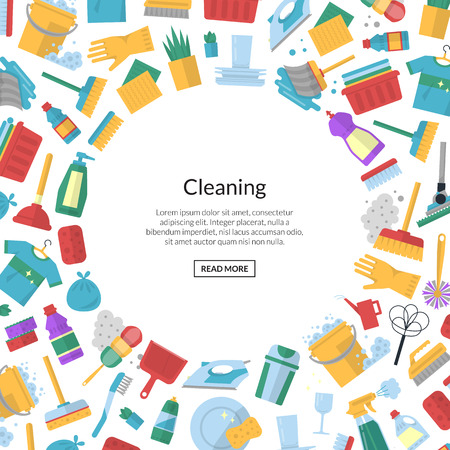 Vector cleaning flat icons background banner poster with place for text illustration