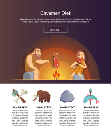 Vector cartoon cavemen template illustration Archivio Fotografico - 107013417