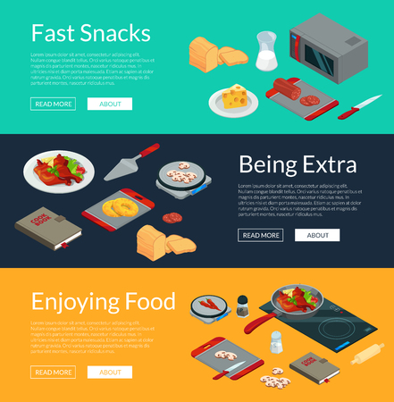 Vector cooking food isometric objects horizontal web banners poster illustration Vectores