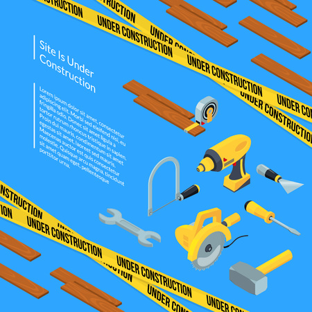 Vector under construction tools isometric icons background with ribbons, wood and place for text concept illustration