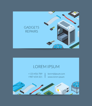 Vector isometric electronic devices business card template for electronics shop or repair service illustration Иллюстрация