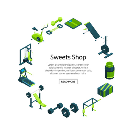 Vector isometric gym objects horizontal web banners illustration isolated on white