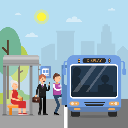 Public autobus station with passengers wich sit in the bus