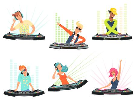 DJ-Charaktere. Vektorillustrationen von Musikkarikaturmaskottchen. DJ mit Kopfhörer auf Clubparty